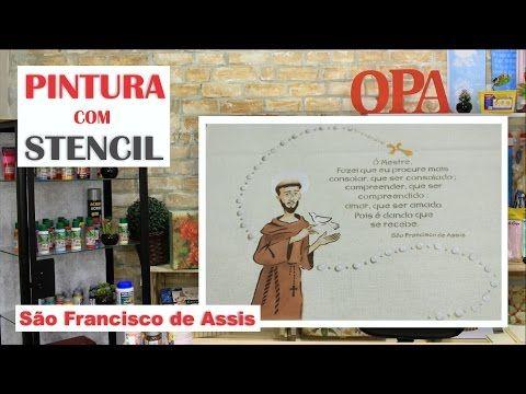 São Francisco de Assis no Tecido LISTA DE MATERIAIS * Stencil Opa - São Francisco de Assis OPA2206 | 30,5x30,5 * Stencil Opa - Moldura Celestial OPA2203 - 30...