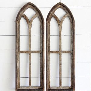 antiquefarmhousecom 4400 tall arched wooden window frame set of 2 - Wooden Window Frames
