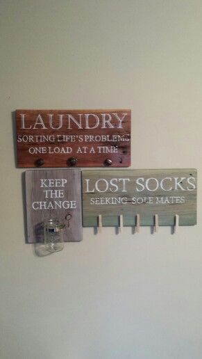 Repurposed barn wood laundry signs