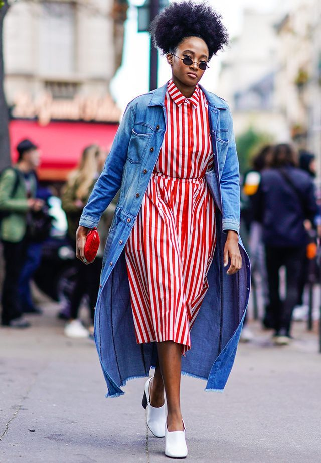 how to wear a denim jacket: long line