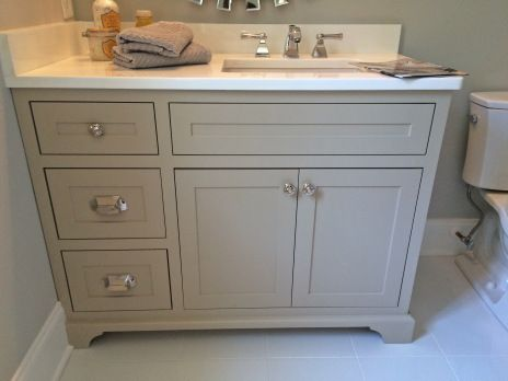"Sherwin Williams ""Balanced Beige"" vanity-- this would be pretty for our kitchen cabinets"