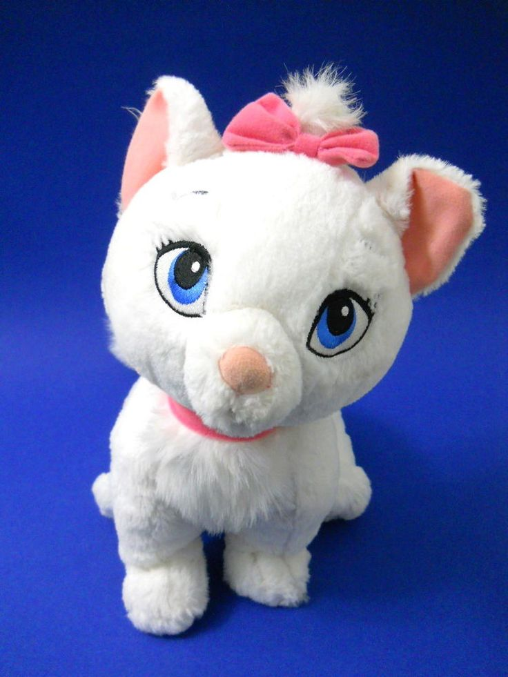 Disney Maria Plush Cat Aristcats White Pink Ears Bow Neck