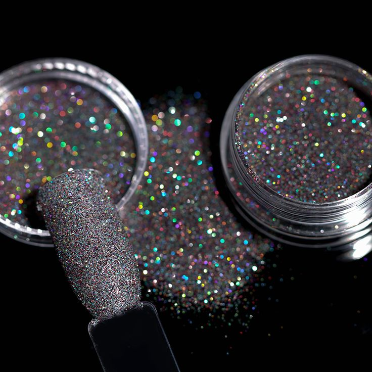 2g Holographic Colorful Laser Black Glitter Powder Shining Sugar Glitter Dust Pigment Manicure Nail Art Tips Decoration 8005
