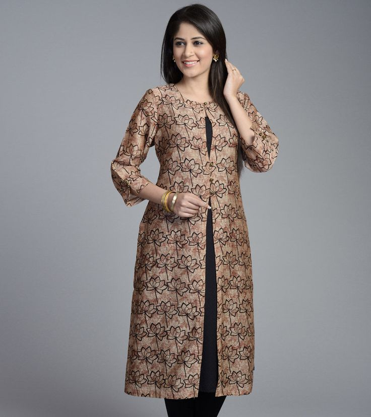Beige & Black Cotton Silk Printed Kurta
