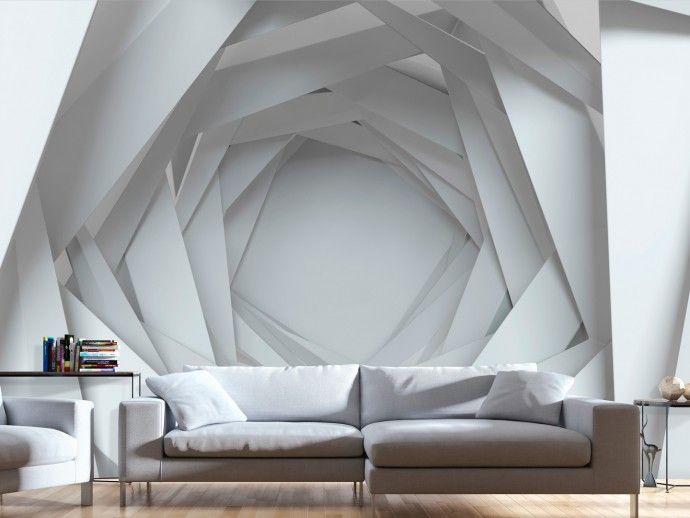 Réfléchissez-vous parfois comment agrandir visuellement votre intérieur ? Misez sur un papier peint 3D avec des motifs géométriques ! #papierspeints #papierpeint #décorationmoderne #motifgéométrique #3D #effetillusion #bimago