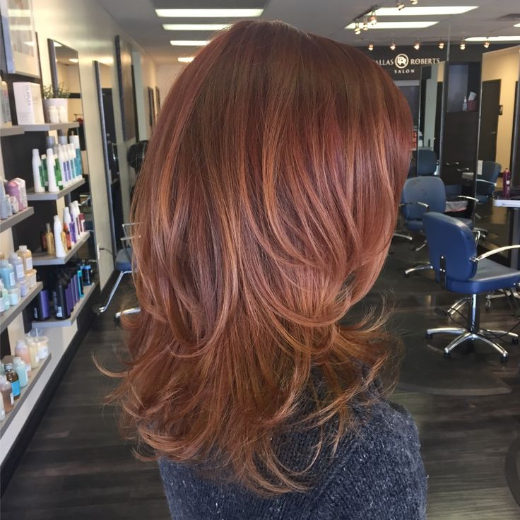 Red and copper toned balayage by Carley Throgmorton Smedley, IG: @saltcityhair at Dallas Roberts Salon in West Jordan, Utah.  Red hair. Copper highlights.
