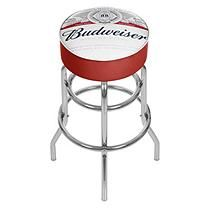 Budweiser Chrome Padded Bar Stool with Swivel - Label Design