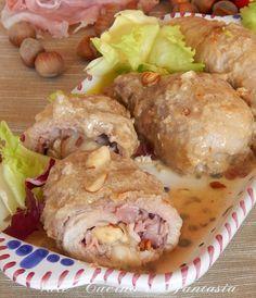 Involtini di carne ripieni di prosciutto cotto e nocciole facili veloci e molto golosi un ricco secondo piatto diverso dal solito