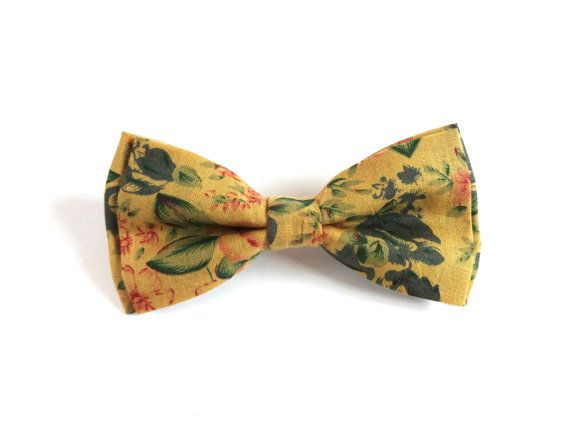 Floral Bow Tie with Yellow Background and Pink and by RubiBell