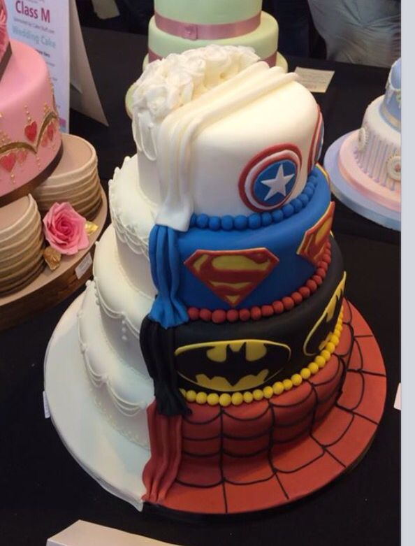 Superhero Half And Half Wedding Cake