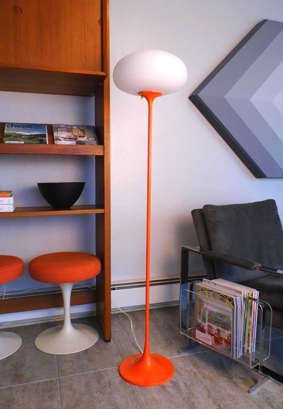 VINTAGE Mid Century Modern LAUREL MUSHROOM Orange FLOOR LAMP