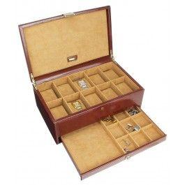 Cutie 10 ceasuri cu sertar, din piele - Dulwich Designs