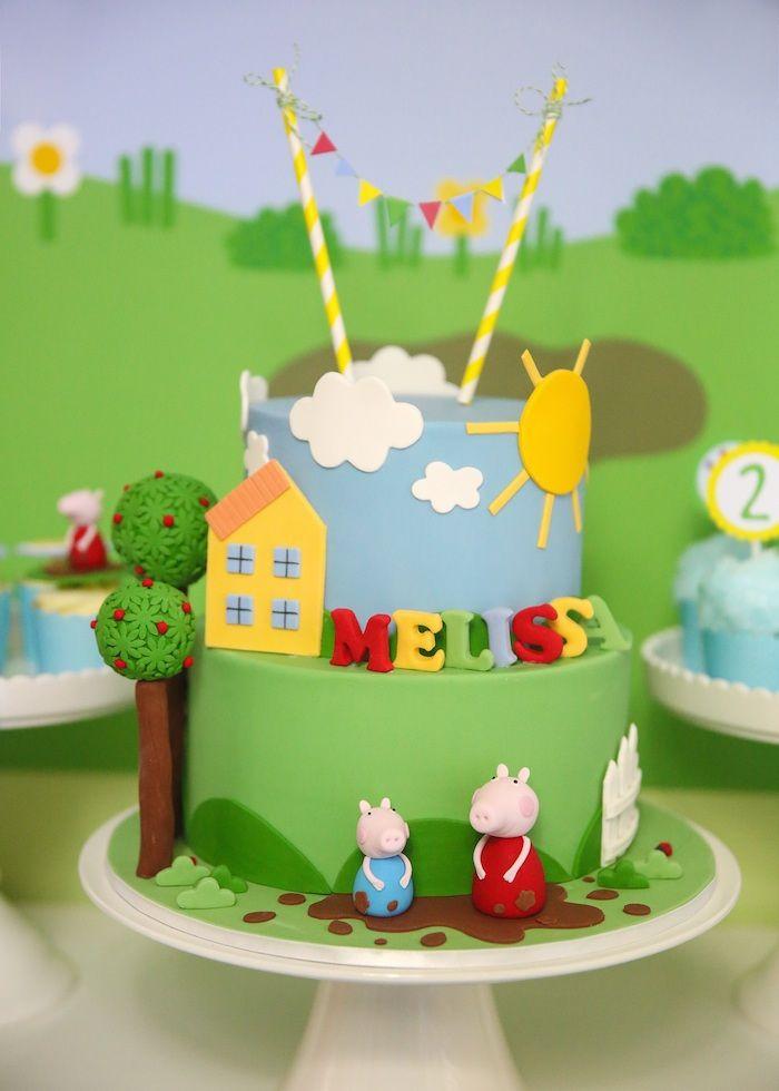 Peppa Pig themed birthday party via Kara's Party Ideas KarasPartyIdeas.com Printables, cake, decor, cupcakes, favors, tutorials, recipes, etc! #peppapig #peppapigparty (18)