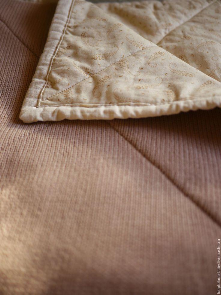 Купить Детское одеяло на подкладе (двустороннее стеганое одеяло) - бежевый, плед, одеяло, вязаный плед