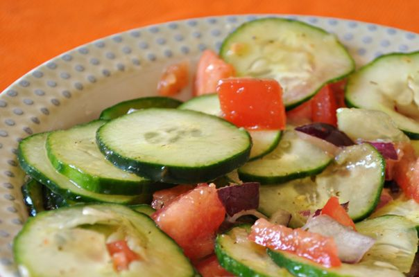Recipe: Mediterranean Cucumber Salad - 2 large cucumbers 1 small red onion 1 large tomato Mrs. Dash's Lemon Herb Peppercorn Marinade Dash of salt