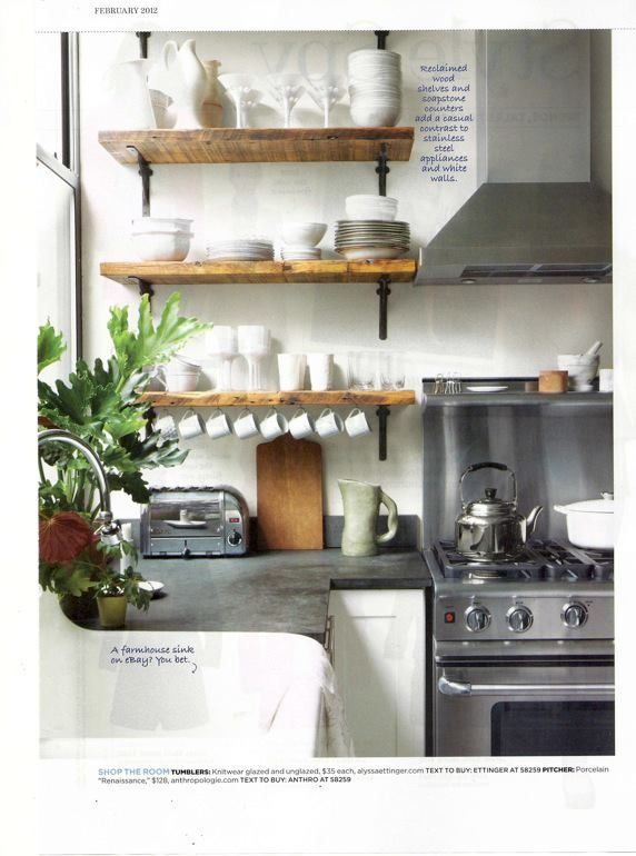 soapstone counter tops; open wood shelves