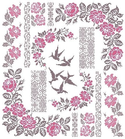 "Birds Sampler Design Area: 19, 5"" W x 21, 69"" H 304 x 339 stitches Archivo PDF vía e-mail $25.00USD o 18€ *** Pago en $USD ..."
