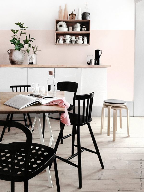 Dreamy Dining Room   Blush Pink Walls, Light Wood Accents, Black Pops | # Part 93