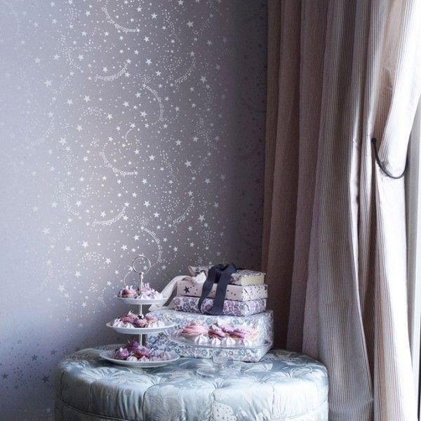 Papier peint enfants mauve STARS-LAVENDER - Tapet Cafe - Au fil des Couleurs
