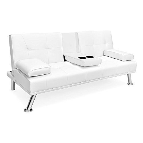White Faux Leather Entertainment Convertible Futon Sofa Bed Cup Holder Couch Recliner Sleeper Home Living Room Bedroom Leather Futon Futon Sofa Bed Futon Sofa