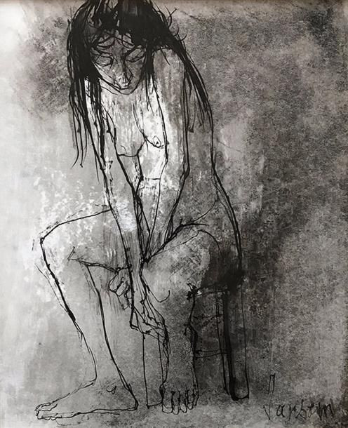 Jean JANSEM (1920-2013) Jeune femme nue assise. Plume, encre de Chine et lavis. Signé en bas à droite. 24 x 19,5 cm (à vue). - Blanchet & Associés - 19/04/2017