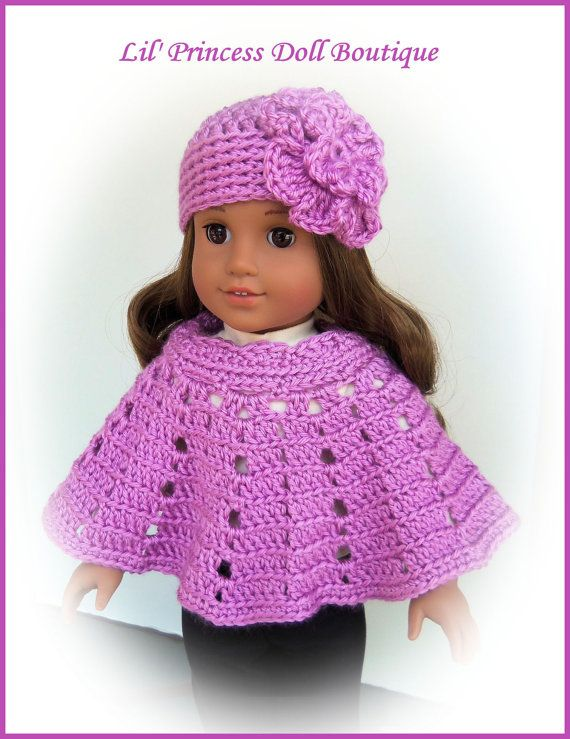 Knitting Pattern For American Girl Doll Poncho : AG poncho and hat Crochet Pinterest