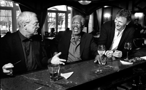 Michael Caine, Morgan Freeman, Liam Neeson. A trifecta of cool.: Morgan Freeman, Liamneeson, S'Mores Bar, Funny, Morganfreeman, Michaelcain, People, Michael Cain, Liam Neeson