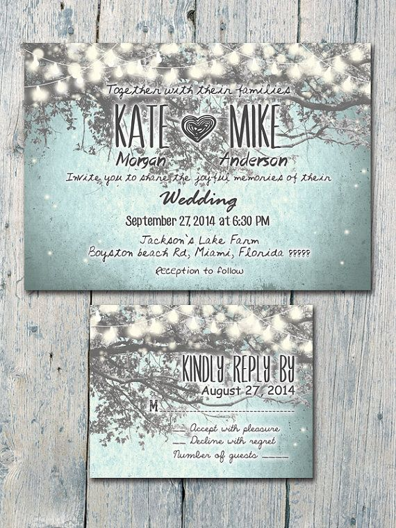 Digital - Printable Files - Winter - Romantic Garden and Night Light Wedding Invitation and Reply Card Set - Wedding Stationery - ID210GB