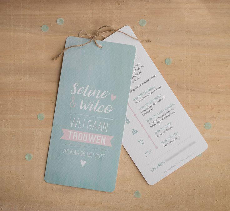 Trouwkaart Wilco & Seline - Ontwerp Marjolein Vormgeving #trouwkaart #ontwerp #opmaat #trouwkaarten #persoonlijk #kaarten #trouwen #mint #mintgroen #roze #labels #kaart