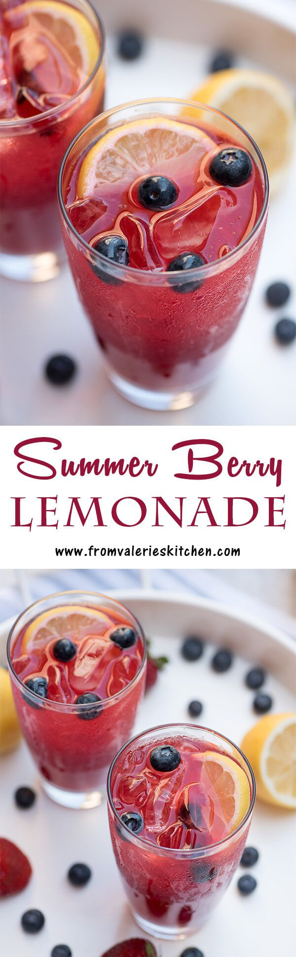 Fresh berry puree is combined with homemade simple syrup and fresh lemon juice. This tart-sweet beverage is just the thing for your summer gatherings! ~ http://www.fromvalerieskitchen.com