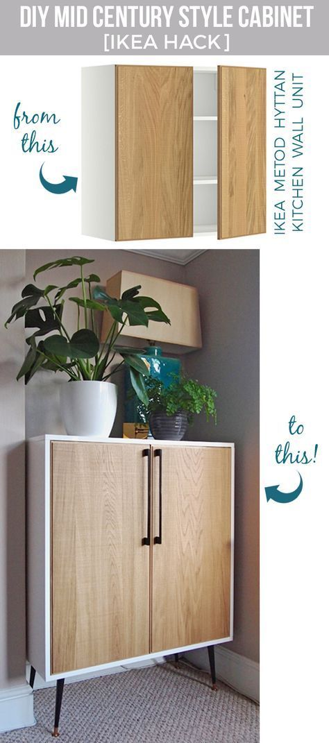 IKEA Hack - DIY midcentury inspired cabinet from METOD kitchen unit- for small unused spaces like in our lounge :)