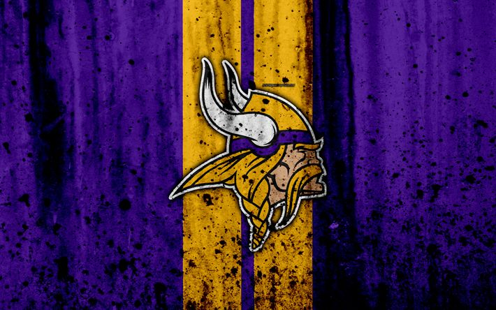 Download wallpapers 4k, Minnesota Vikings, grunge, NFL, american football, NFC, logo, USA, art, stone texture, North Division