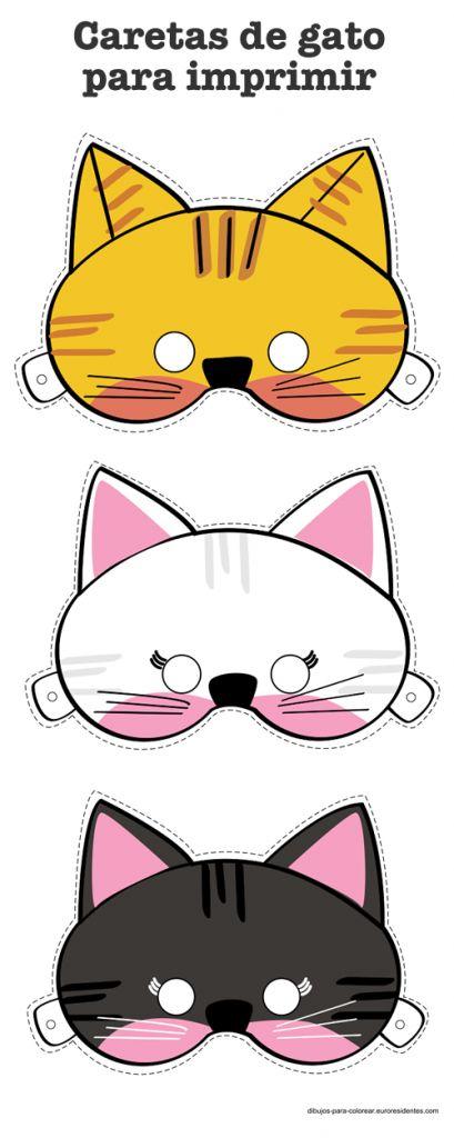 Caretas de gatos Las caretas y las máscaras son un complemento genial para los disfraces de los niños, les gustan mucho y pueden jugar a adivinar quién se esconde detrás de la careta. Puedes descargar e imprimir gratis estas caretas de gatos para jugar con ellos o para su disfraz de Carnaval. Las caretas las podemos hacer de forma sencilla imprimiéndolas en cartulina y cortando unos trozos de goma para hacer el enganche en la cabeza. También podéis personalizar aún más la careta con…