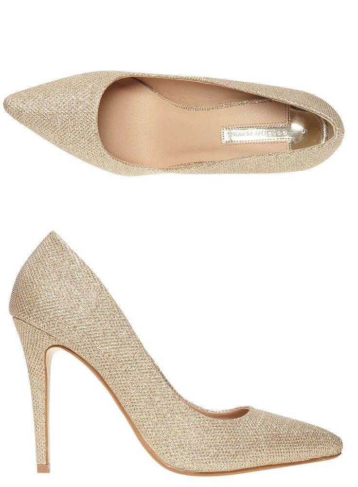 Gold Glitter Emie Court Shoes
