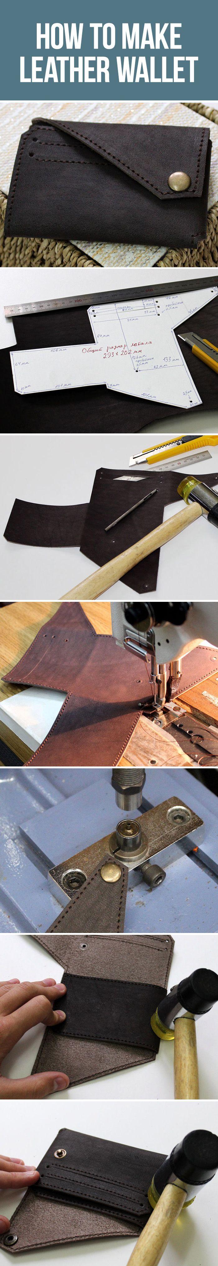 How to make leather wallet, tutorial / Небольшой аккуратный кошелек своими руками, выкройка, мастер-класс
