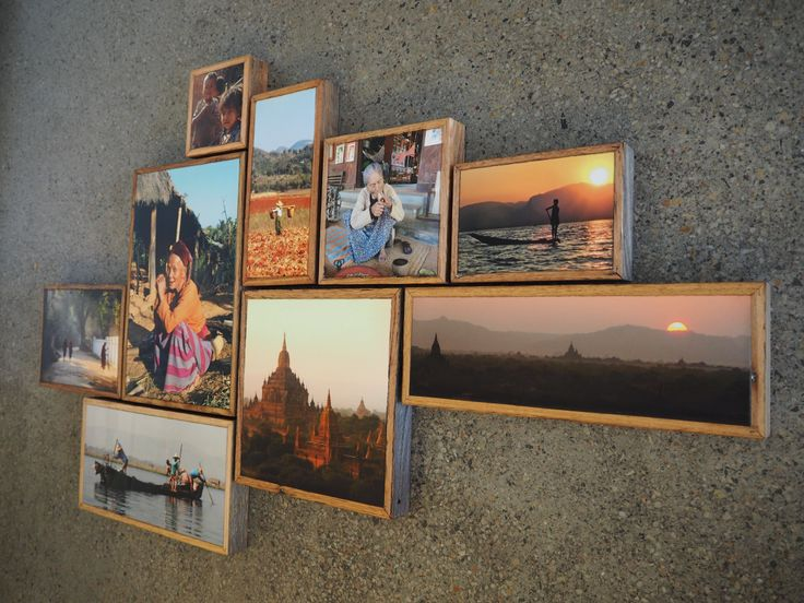 Create a montage of your favourite travel pictures to enjoy at home. Images printed on stone and wood by Imogen Stone.