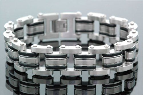"""Men's Stainless Steel Double Row Biker Bracelet 8.5"""" JoJino. $24.95. stainless steel 8.5 inch wrist bracelet"""