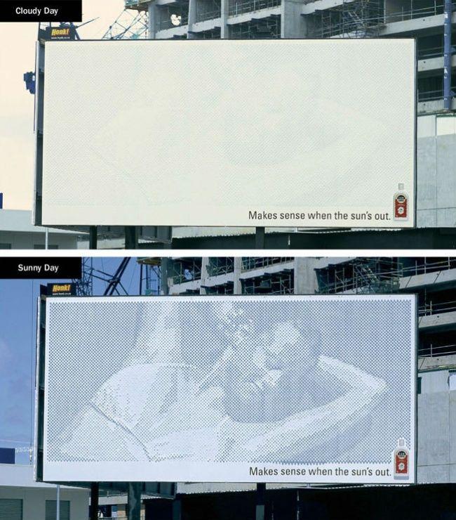 Реклама средства для загара из12148колышков, дающих тень всолнечную погоду. «Имеет смысл только когда солнечно».