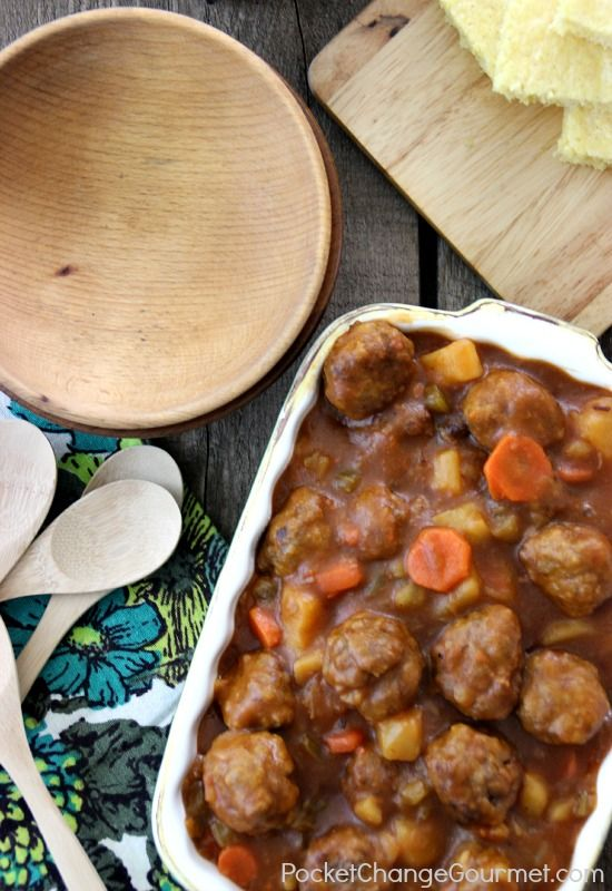Meatball Stew by pocketchangegourmet #Stew #Meatball #Easy