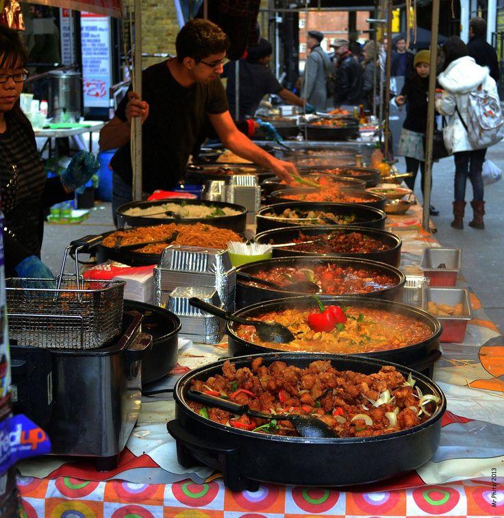 Brick Lane, London. Street Food. Brick Lane is not far from Trinity Square Flat (www.trinitysquareflat.com)