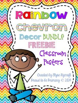 This FREE Rainbow Chevron Classroom Poster Setis perfect for decorating your classroom. It has 14 pages of bright and cute classroom posters! It is a sample of my full product Rainbow Chevron MEGA Classroom Decor BUNDLE {450+ pages + EDITABLE extra pack}!*****************************************************************************Included upon instant download:*12 subject posters plus 2 blank ones {math, art, ipads, reading, snack, writing, special, word work, gym, lunch, recess, centers}…