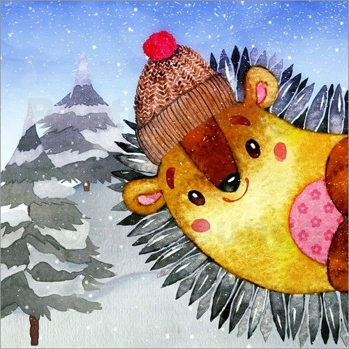 UtArt - Freunde im Winter - Waldtiere Igel #christmas #xmas #children #bedroom #wallart #walldecor #animal #fun #hedgehog