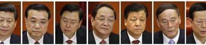 New Rulers of Chinese Communist Party (from L to R) Xi Jinping, Li Keqiang, Zhang Dejiang, Yu Zhengsheng, Liu Yunshan, Wang Qishan and Zhang Gaoli.