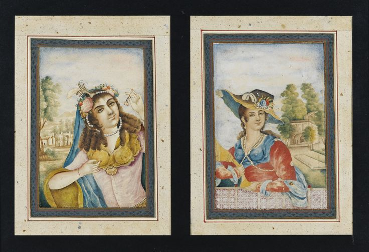 TWO EUROPEAN STYLE PORTRAITS OF YOUNG LADIES, QAJAR PERSIA, 19TH CENTURY