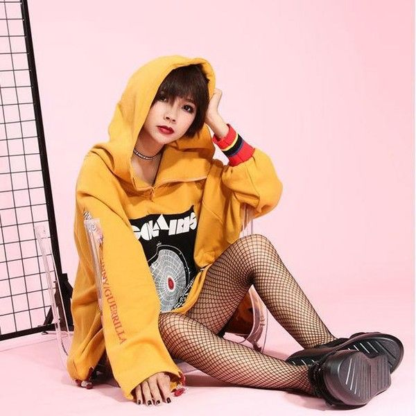 Oversized Patch Yellow Hoodie (545 ZAR) ❤ liked on Polyvore featuring tops, hoodies, pink hoodie, hooded sweatshirt, yellow shirt, yellow long sleeve shirt and yellow hooded sweatshirt