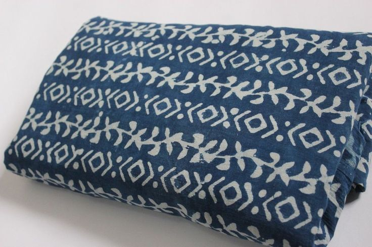 5 Yard India Hand Block Indigo Blue dabu print cotton fabric top most design #KhushiHandicraft