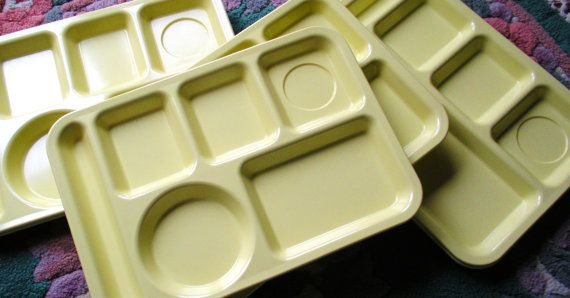 Yellow School Lunch Trays from the 60's & 70s   Just like we had in grade school!