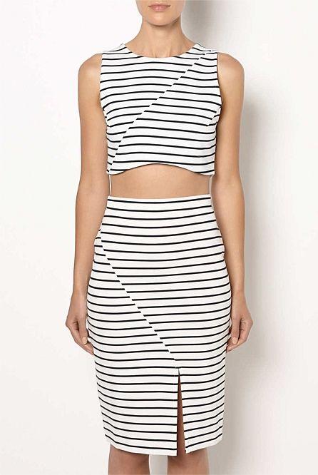 Witchery - Asym Pencil Skirt & Stripe Crop