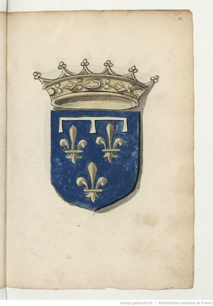 Duc d'Orléans . Armoiries, pour la plupart coloriées, de la noblesse de France du temps de François Ier. 1535.