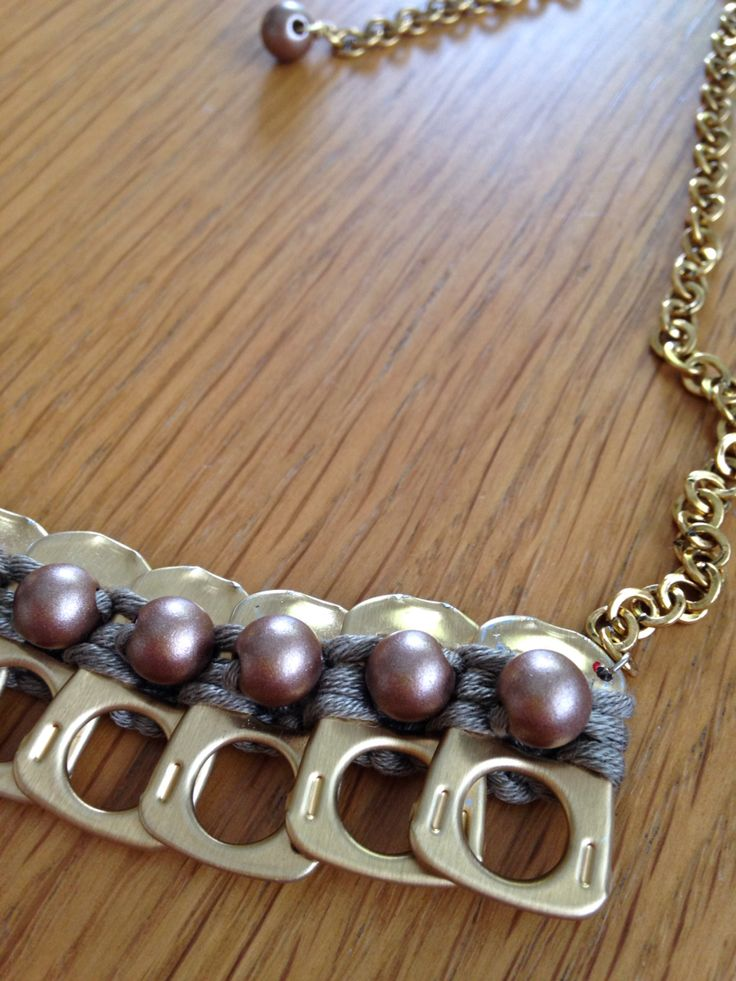 Necklace made from pearls and soda tabs